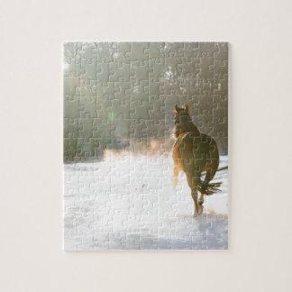 Cheval dans la neige puzzle