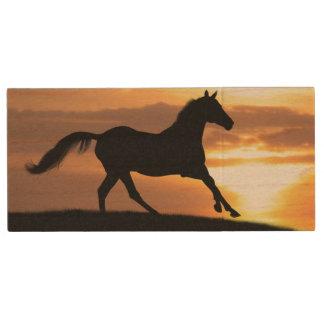 Cheval dans le coucher du soleil clé USB 2.0 en bois