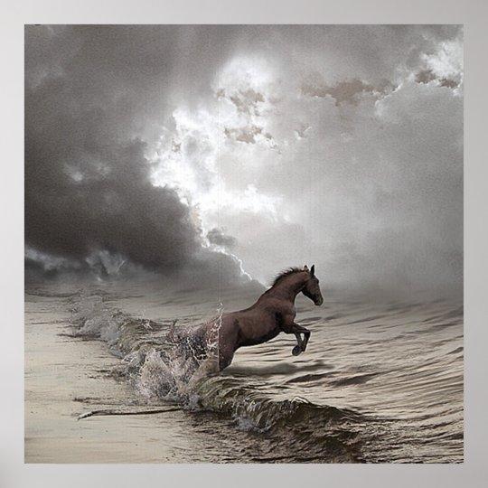 Cheval dans les vagues, Papier poster (mat)