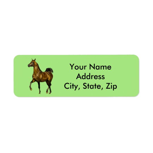 Cheval d'Arabe de baie Étiquette D'adresse Retour