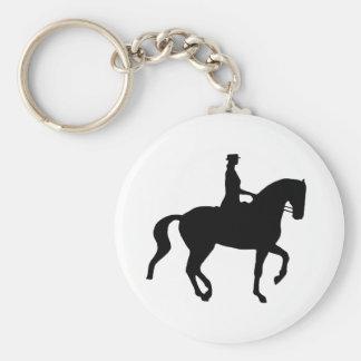 Cheval de dressage de Piaffe et cavalier noir Porte-clef