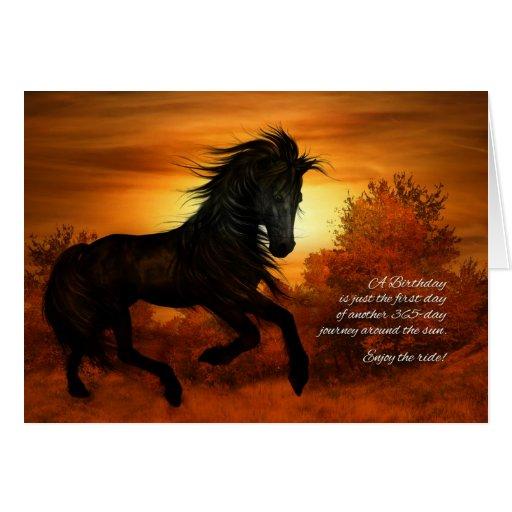 cheval de joyeux anniversaire dans le coucher du s carte de v ux