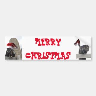 Cheval de Joyeux Noël avec le chapeau de Père Noël Autocollant Pour Voiture
