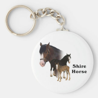 Cheval de Shire Porte-clé Rond