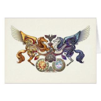 Cheval de Sun, carte de voeux de cheval de lune