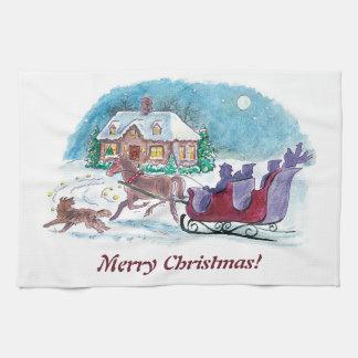 Cheval démodé et Noël de Sleigh Linges De Cuisine