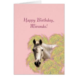 Cheval en fleurs - joyeux anniversaire ! carte de vœux