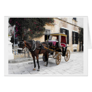 Cheval et chariot, Mdina, Malte Carte De Vœux