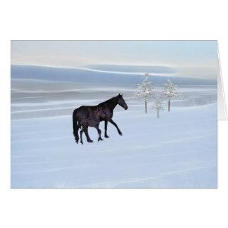 Cheval et poulain dans la neige carte de vœux