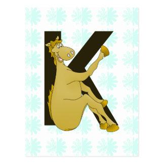 Cheval flexible du monogramme K personnalisé Carte Postale