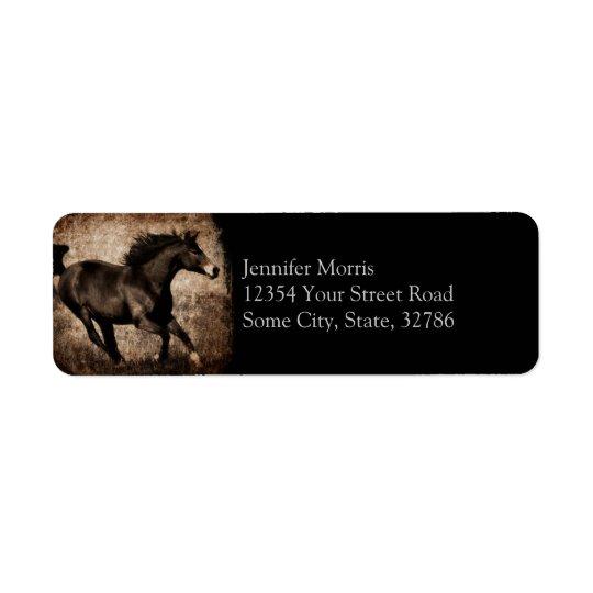 Cheval galopant de sépia rustique étiquettes d'adresse retour