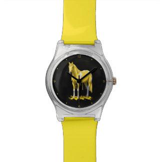 Cheval humide de peinture d'égoutture jaune citron montres