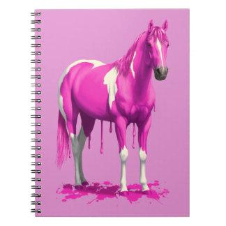 Cheval humide de peinture d'égoutture rose magenta carnet à spirale