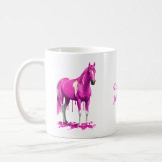 Cheval humide de peinture d'égoutture rose magenta mug