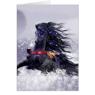 Cheval indien d'étalon majestueux bleu noir dans cartes de vœux