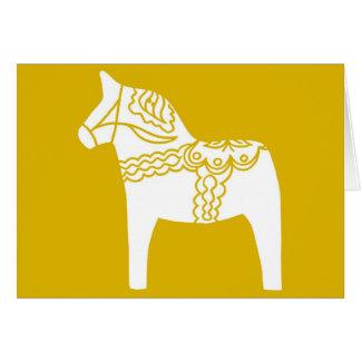 Cheval jaune de Dala Carte De Vœux