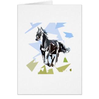 Cheval noir carte de vœux