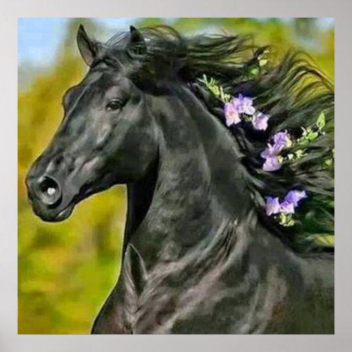 cheval noir crinière fleurie, Papier poster (mat)