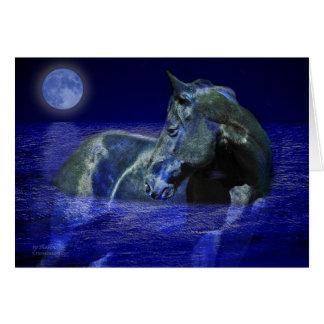 Cheval noir de lune carte de vœux