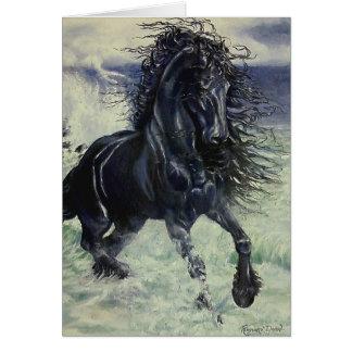 """Cheval noir d'étalon """"de Staorm frison"""" dans Cartes De Vœux"""