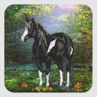 Cheval noir et blanc de peinture d'Overo Sticker Carré