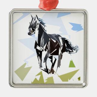 Cheval noir ornement carré argenté
