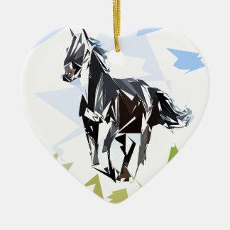 Cheval noir ornement cœur en céramique