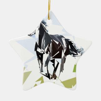 Cheval noir ornement étoile en céramique
