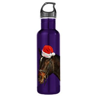 Cheval père Noël - cheval de Noël - Joyeux Noël Bouteille D'eau En Acier Inoxydable