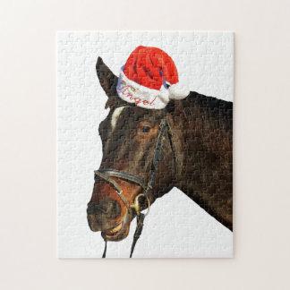 Cheval père Noël - cheval de Noël - Joyeux Noël Puzzle