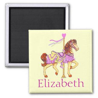 Cheval rose de carrousel magnet carré