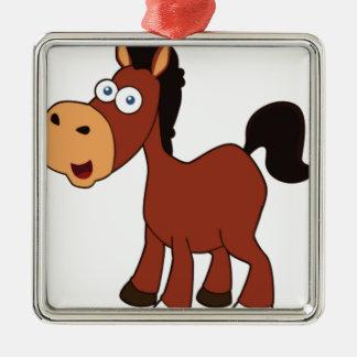 cheval rouge de bande dessinée ornement carré argenté