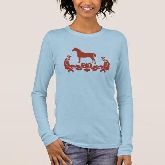 Cheval rouge et blanc de damassé t-shirt à manches longues