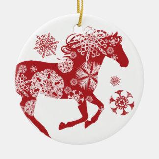 Cheval rouge et blanc de Noël de flocon de neige Ornement Rond En Céramique