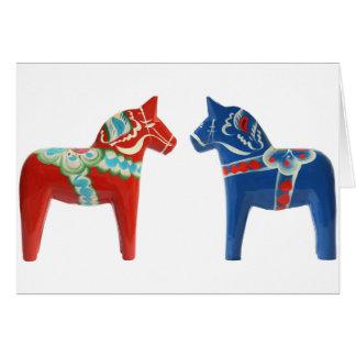 Cheval rouge et bleu de Dala Carte De Vœux