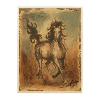 Cheval sauvage et couleurs chaudes impression sur bois