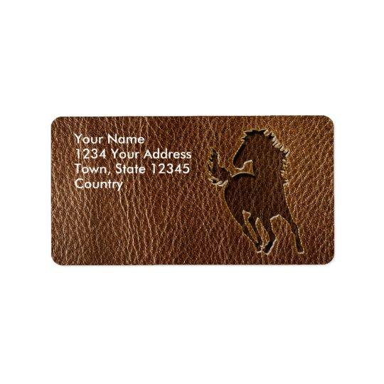 Cheval simili cuir étiquette d'adresse