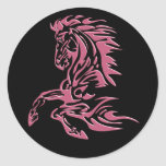 CHEVAL TRIBAL ROSE STICKER ROND