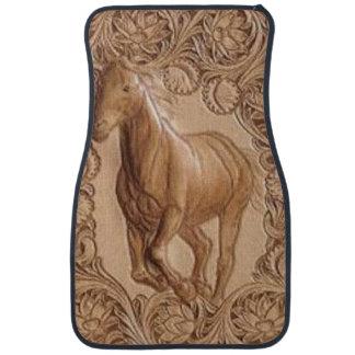 Cheval vintage en cuir usiné occidental tapis de sol