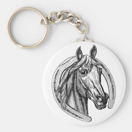Cheval vintage et fer à cheval Keychain Porte-clé
