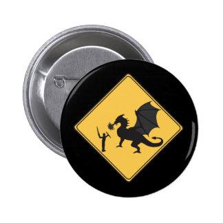 Chevalier de signe de route et bouton de dragon badges