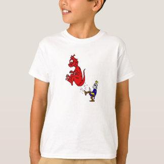Chevalier donnant un coup de pied le dragon t-shirt