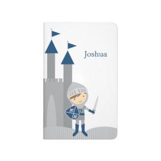 Chevalier mignon et château bleus et gris carnet de poche