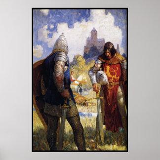 chevaliers après l'affiche de bataille de 8,99 poster