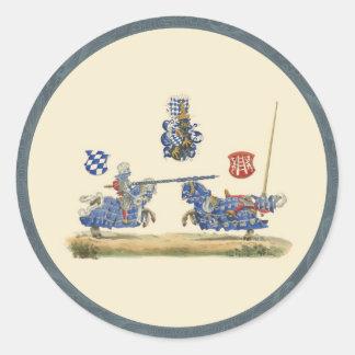 Chevaliers joutants - thème médiéval sticker rond