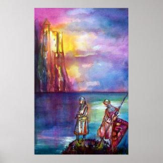 Chevaliers médiévaux de PENDRAGON, coucher du Poster
