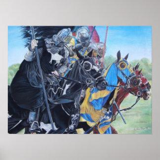 chevaliers médiévaux joutant sur l'art historique posters