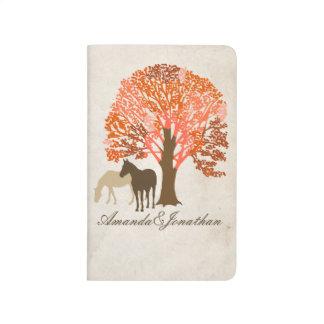 Chevaux d'automne d'orange et de Brown Carnet De Poche