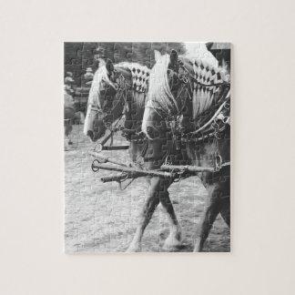 Chevaux de document de travail en noir et blanc puzzle
