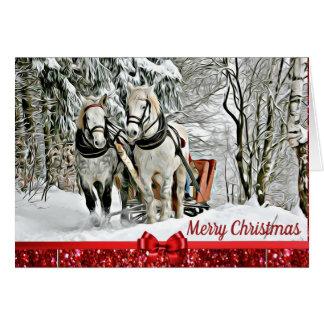 Chevaux de Joyeux Noël tirant la carte de Sleigh